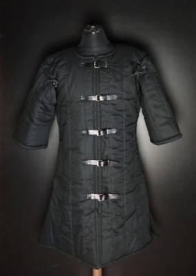 Medieval Black Color Gambeson For Armor Reenactment Full Sleeves