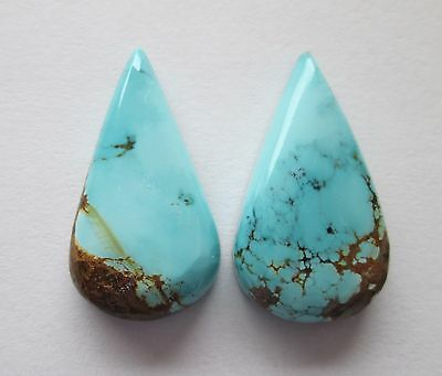 24.50 cts of Natural Sierra Nevada Turquoise Cabochon Gemstones, Pair, # CY 045