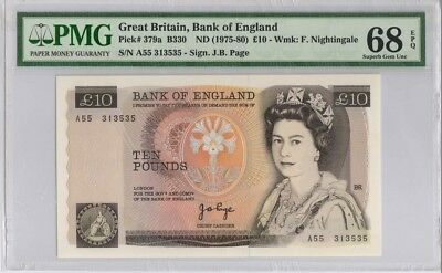 Great Britain,Bank of England,10 Pounds,P379a,1975-80,PMG 68EPQ
