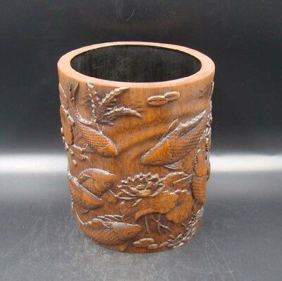 Collectible Handmade Carving Bamboo Brush Pot Statue fish