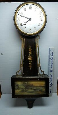 Rare Gilbert Wind Up Banjo Style Wall Clock Complete Rare Snowy Cottage Scene