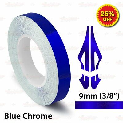 """9mm 3/8"""" PinStriping Pin Stripe Tape SOLID Line Decal Vinyl Sticker BLUE CHROME"""