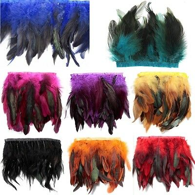 1 Meter Rooster Feather Trimmings Fringe Trim Sewing Costume Hackle Coque Craft