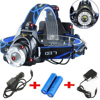 5000LM LED Rechargeable Headlight Headlamp Flashlight+ 2x18650 +Charger US Stock