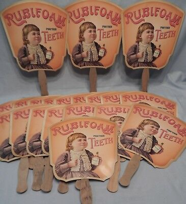 RUBIFOAM TEETH DENTIFRICE LIQUID VINTAGE AD FAN E.W. HOYT & CO. Lot of 10