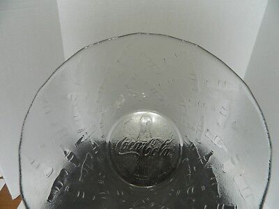 Coca Cola Large Clear Glass Embossed Bottle Frosted Serving Bowl Arcoroc France
