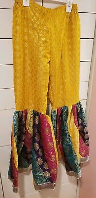 Pakistani / Indian Women's chatapati gharara pants, yellow, jamawar, Size M