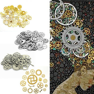 100g Steampunk Gears Cogs Charm for Crafting Jewellery Making Clock Watch Parts