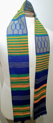 4.5x60 inch Authentic African Kente Cloth Stole Scarf made in Ghana, Blue White