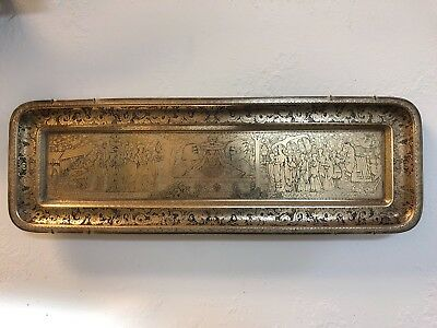 "Vintage KINCO Large Brass Tray Maitreya, Governor,Dragon,24 x 8"" Made In England"