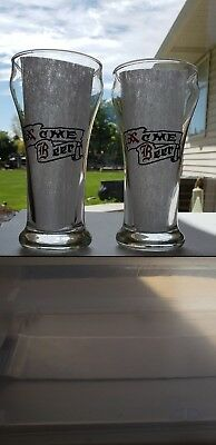 Pair of 1930's Acme Beer Sham Weighted Bottom Glasses Rare Set