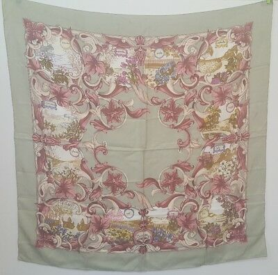 """Vintage BURBERRYS Months of the Year Flowers Floral Silk Scarf Italy 34"""" x 34"""""""