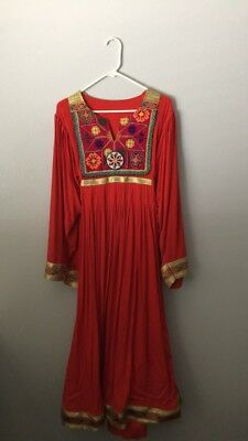 Traditional Afghan Dress Colorful Beading And Embroidery
