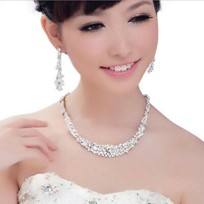 Wedding Prom Party Bridal Flower Girl Crystal Necklace Earrings Jewelry Set