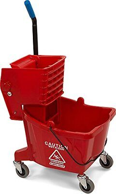Commercial Mop Bucket With Side Press Wringer 26 Quart Capacity Red