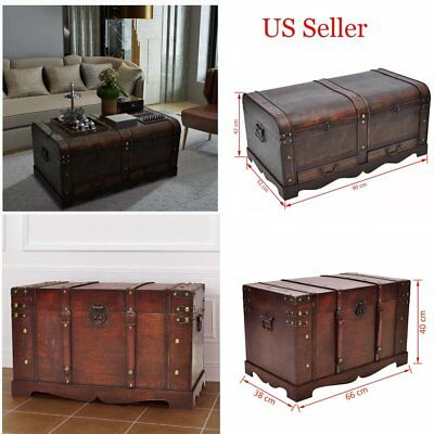 Vintage Large Wooden Treasure Chest Home Storage Box Trunk Coffee Table Us
