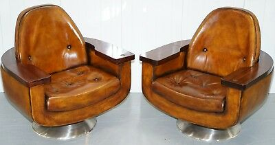 Pair Of Restored 1969 Peter Hoyte Rosewood Brown Leather Councillors Armchairs
