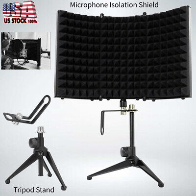 Studio Microphone Diffuser Isolation Sound Absorber Foam Panel Shield Tripod US