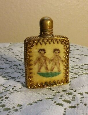 Antique Petit Point Austrian Pompadour Glass, Gold Filigree Perfume Bottle