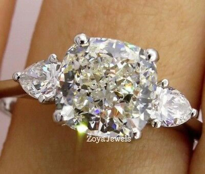 Certified 5.90Ct Cushion & Pear Cut White Diamond Engagement Ring 14K White Gold