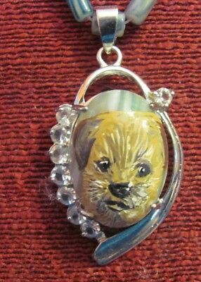 Border Terrier hand painted on small, oval, green striped Agate pendant/bead/nec