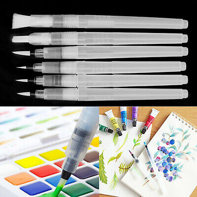 6X Water Color Brush Refillable Pen Watercolor Supplies Painting Art Tools EZ