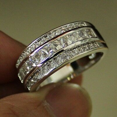 Ring Valentine Women Silver Plated Princess Party Jewelry Ring Size 6-10 1Pc
