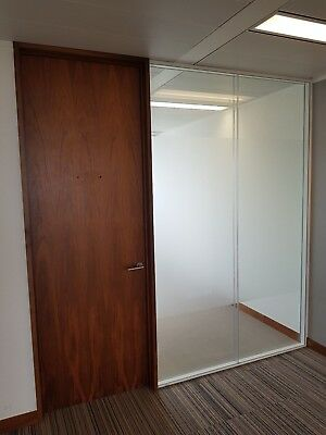 2.53 METRE WIDE CAVITY GLASS PARTITION SYSTEM WITH 1 x  DOOR & FRAMES FOR £250