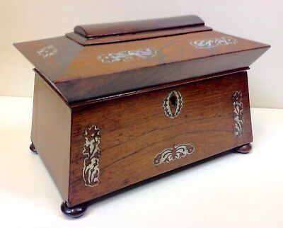 Victorian Rosewood Sarcophagus Two Section Tea Caddy.