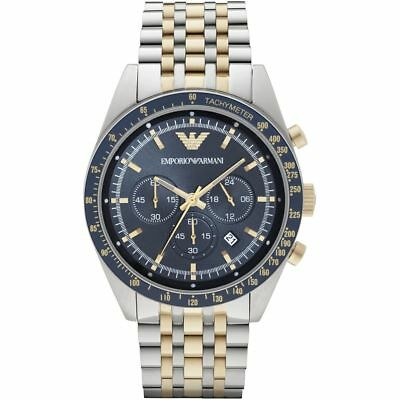 New Emporio Armani Ar6088 Tazio 2 Tone Blue Dial Men's Chronograph Watch Uk