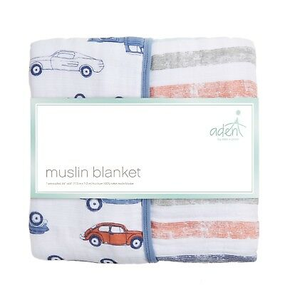 aden muslin 100% cotton large baby dream blanket: hit the road