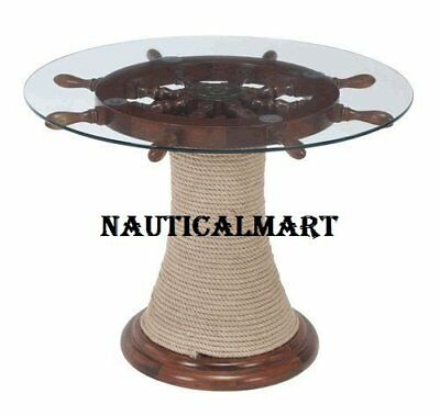 """24"""" Ship Wheel Table With Natural Oak Wood For Home Decor"""