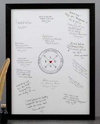 Personalised Couple Names Love Compass | Unique Framed Wedding Guest Book