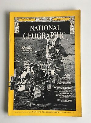 Vintage 1970s National Geographic Magazine Apollo 14 Norway Canyonlands Bermuda