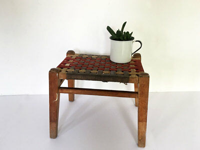Vintage 1970's Wooden Footstool with Woven Top