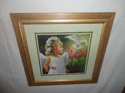 Home Interiors '' Girl Angel with  White Dove '' Picture   Gorgeous  18.5''