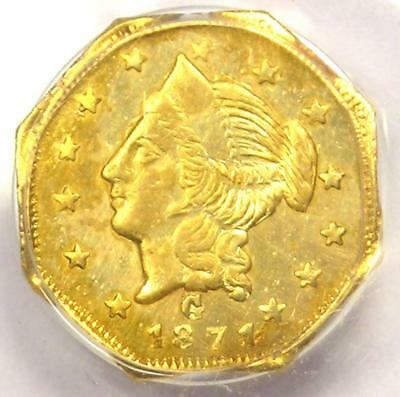 1871 Liberty California Gold Dollar Coin G$1 BG-1109 - PCGS AU55 - $700 Value!
