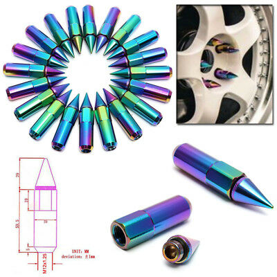 20pcs Neo Chrome M12X1.25MM Spiked Aluminum Wheels/Rims Lug Nuts Extended Tuner