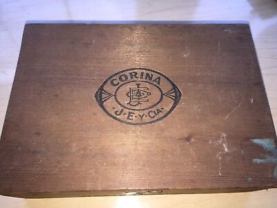 ANTIQUE Corina JEY CIA WOOD CIGAR BOX VINTAGE