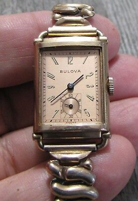 1930s Vintage Bulova Fifth Ave 14K Rose Gold Filled Art Deco Wristwatch