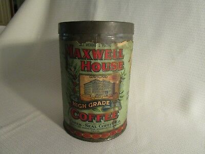 Maxwell House Tin Copyright 1921, 1 lb. container, Paper Label, High Grade Coffe