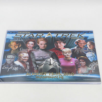 "Star Trek Convention Autographed 14"" x 11"" Photo with 8 Signatures Jeri Ryan COA"