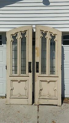 """KILLER EXTERIOR ARCHED CHURCH DOORS LEADED GLASS 90.25"""" x 30.25"""" x 2.25""""  WOW !!"""