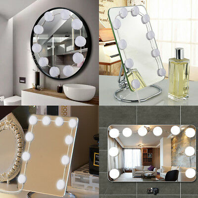 Hollywood Style LED Vanity Makeup Mirror Lights Kit With 10 Dimmable Bulbs