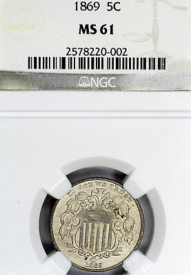 1869-P MS61 Shield Nickel 5c graded by NGC!
