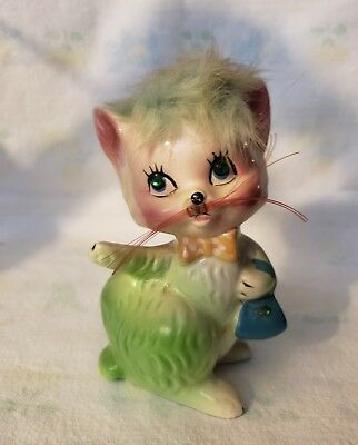 """Vintage Kreiss & Company Cat With Hair On Top 5"""" Tall"""