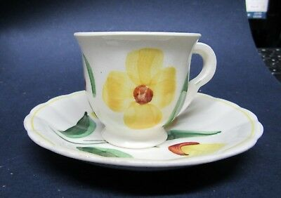 Blue Ridge Southern Pottery Demitasse Cup and Saucer Yellow Flower Green Leaves