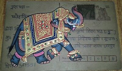 India Old Look Beautiful Elephant Handmade Painting On Vintage Post Card.