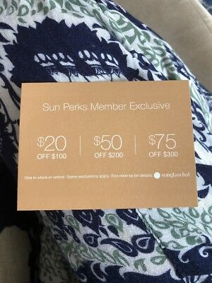 sunglass hut coupon 20 50 75 off purchase online in store