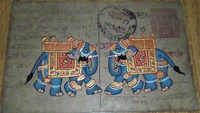 India Old Look Beautiful Elephant Pair Handmade Painting On Vintage Post Card.